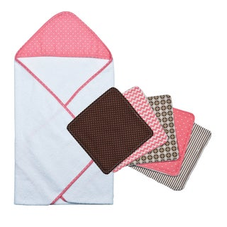 Trend Lab Cocoa Coral Dot Hooded Towel and Wash Cloth Bouquet Set
