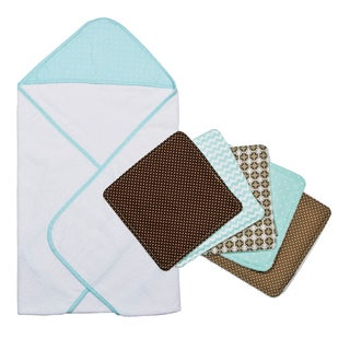 Trend Lab Cocoa Mint Dot Hooded Towel and Wash Cloth Bouquet Set
