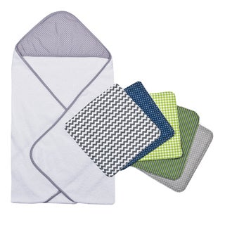 Trend Lab Perfectly Navy Grey Dot Hooded Towel and Wash Cloth Bouquet Set