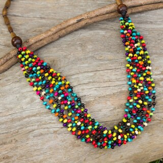 Handmade Littleleaf Boxwood 'Rainbow Muse' Necklace (Thailand)