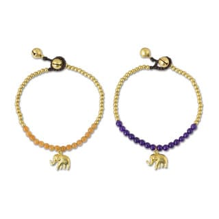 Set of 2 Brass 'Stylish Elephants' Quartz Bracelets (Thailand)