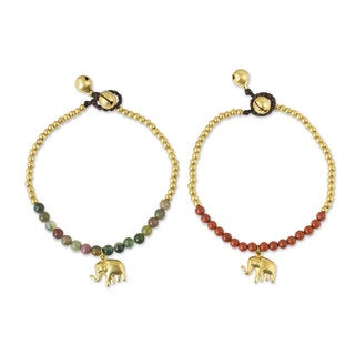 Set of 2 Brass 'Stylish Elephants' Jasper Bracelets (Thailand)