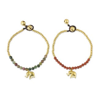 Handmade Set of 2 Brass 'Stylish Elephants' Jasper Bracelets (Thailand)