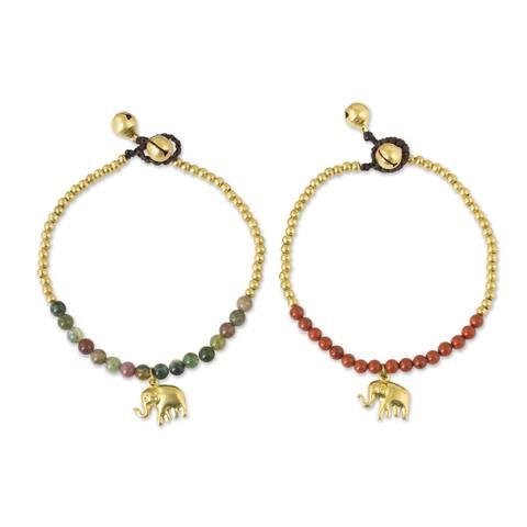 Set of 2 Brass 'Stylish Elephants' Jasper Bracelets (Thailand)