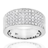 Luxurman 14k Gold 1 3/4ct TDW Pave Diamond Designer Wedding Band