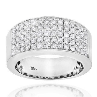 Luxurman 14k Gold 1 3/4ct TDW Pave Diamond Designer Wedding Band (More options available)