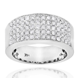 Luxurman 14k Gold 1 3/4ct TDW Pave Diamond Designer Wedding Band