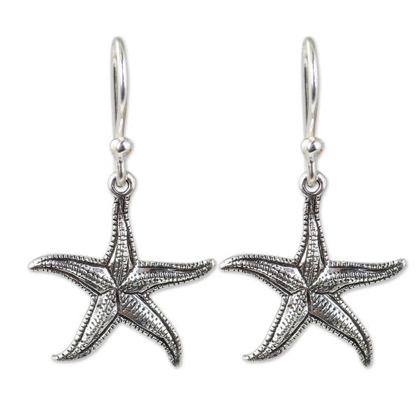 Handmade Sterling Silver X27 Starfish Earrings Thailand
