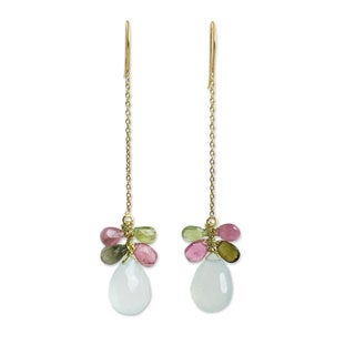 Gold Overlay 'Siam Glam' Chalcedony Tourmaline Earrings (Thailand)