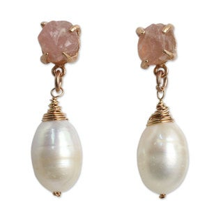 Gold Overlay 'Romantic Rose' Pearl Quartz Earrings (10 mm) (Thailand)