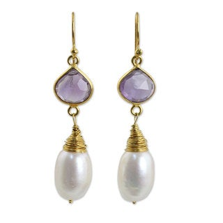 Gold Overlay 'Bloom' Pearl Amethyst Earrings (10 mm) (Thailand)