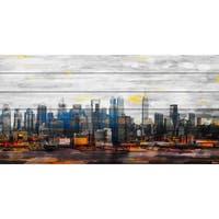 Parvez Taj 'New York Colors' Painting Print on White Wood