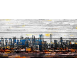 Parvez Taj 'New York Colors' Painting Print on White Wood (2 options available)