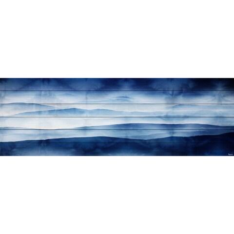 Parvez Taj 'Blue Mountains' Painting Print on White Wood