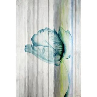 Parvez Taj 'Water Flower' Painting Print on White Wood