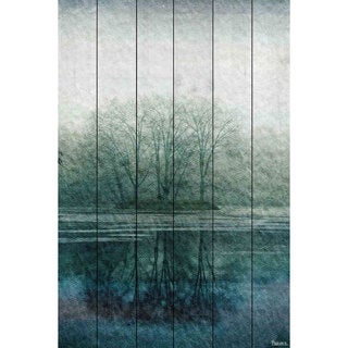 Parvez Taj 'Apple Lake' Painting Print on White Wood
