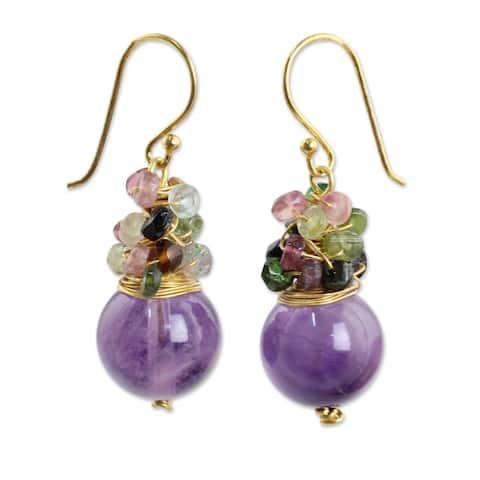 "Harvest Beauty Amethyst Tourmaline Gold Overlay Earrings (Thailand) - 0.5"" x 1.4"""