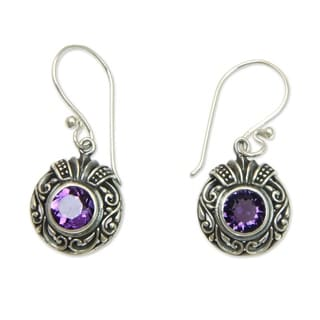 Sterling Silver 'Lilac Ladybug' Amethyst Earrings (Indonesia)