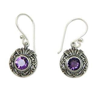 Handmade Sterling Silver 'Lilac Ladybug' Amethyst Earrings (Indonesia)