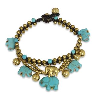Handcrafted Brass 'Blue Elephant' Calcite Bracelet (Thailand)
