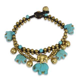 Handmade Brass 'Blue Elephant' Calcite Bracelet (Thailand)