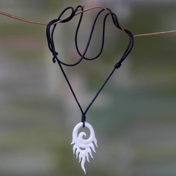 Bone Indonesia  city photos : Handcrafted Bone 'Swirling Flame' Necklace Indonesia 17442507 ...