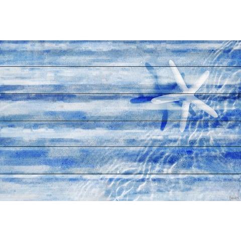 Handmade Parvez Taj - Starfish Print on White Wood