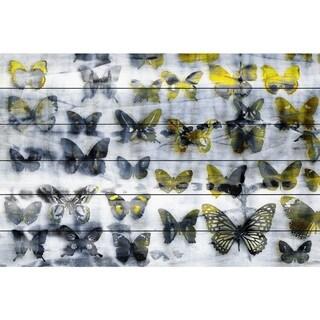 Handmade Parvez Taj - Yellow Wings Print on White Wood