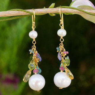 Gold Overlay 'Waterfall' Pearl Multi-gem Earrings (5 mm) (Thailand)