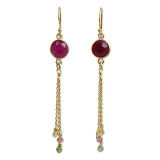 Gold Overlay 'Pink Moonlight' Sapphire Tourmaline Earrings (Thailand)