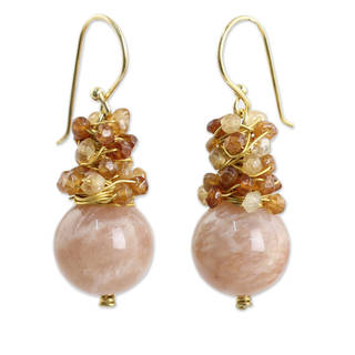 Gold Overlay 'Harvest Beauty' Sunstone Hessonite Earrings (Thailand)