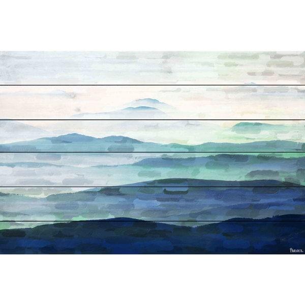 Handmade Parvez Taj - Mountain Tops Print on White Wood