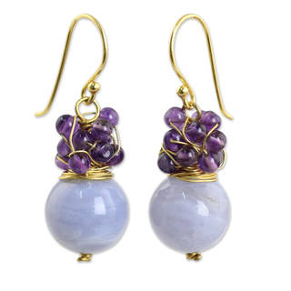 Gold Overlay 'Harvest Beauty' Agate Amethyst Earrings (Thailand)