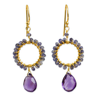 Gold Overlay 'Iris Rain' Iolite Amethyst Earrings (Thailand)