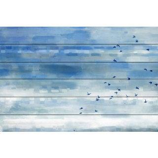 Parvez Taj 'Blue Sky Birds' Painting Print on White Wood