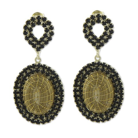 Handmade Golden Grass Gold Overlay 'Jalapao Nights' Earrings (Brazil)