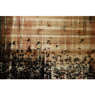 Parvez Taj 'Aspen Wood' Painting Print on Natural Pine Wood