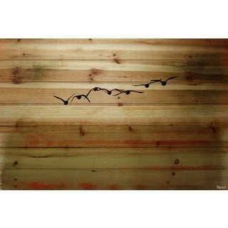 Parvez Taj 'Sun Flight' Painting Print on Natural Pine Wood