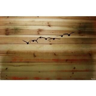 Parvez Taj 'Sun Flight' Painting Print on Natural Pine Wood