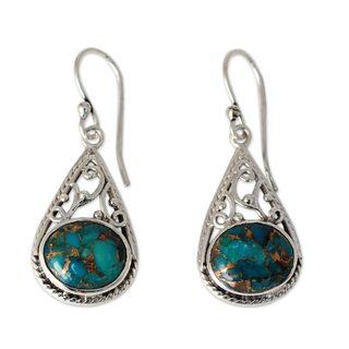 Handmade Sterling Silver 'Divine Sky' Turquoise Earrings (India)