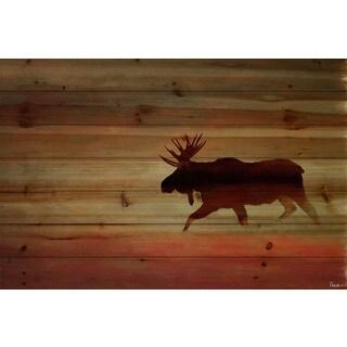 Parvez Taj 'Moosehead' Painting Print on Natural Pine Wood - Multi-color