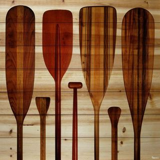 Parvez Taj 'Paddles' Painting Print on Natural Pine Wood