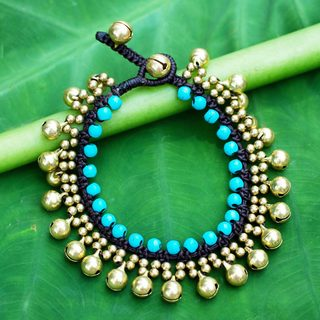 Handcrafted Brass 'Summer Bells' Calcite Bracelet (Thailand)