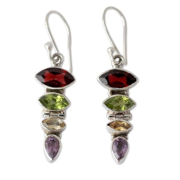 Handmade Sterling Silver 'Fantastic Quartet' Multi-gemstone Earrings (India)