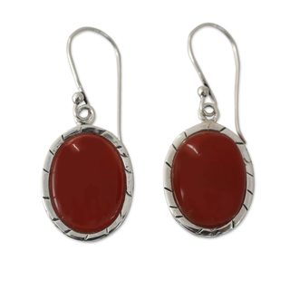 Handmade Sterling Silver 'Captivating Sunset' Carnelian Earrings (India)