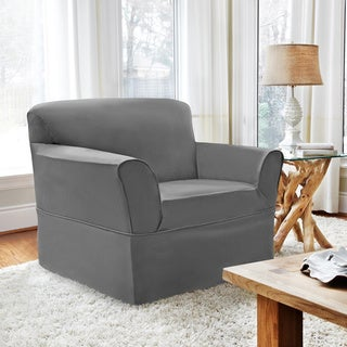 CoverWorks Tara Twill 1-piece Relaxed Fit Chair Slipcover