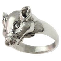Handmade Men's Sterling Silver 'Tusked Pig' Ring (Indonesia)