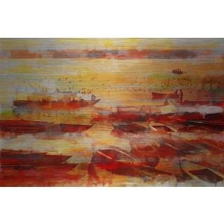 Parvez Taj 'Ozar' Painting Print on Brushed Aluminum