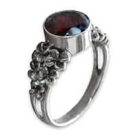 Handmade Sterling Silver 'Crimson Frangipani' Garnet Ring (Indonesia)