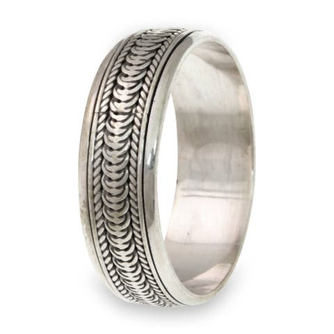 Handmade Men's Sterling Silver Infinity Path Ring (Indonesia)